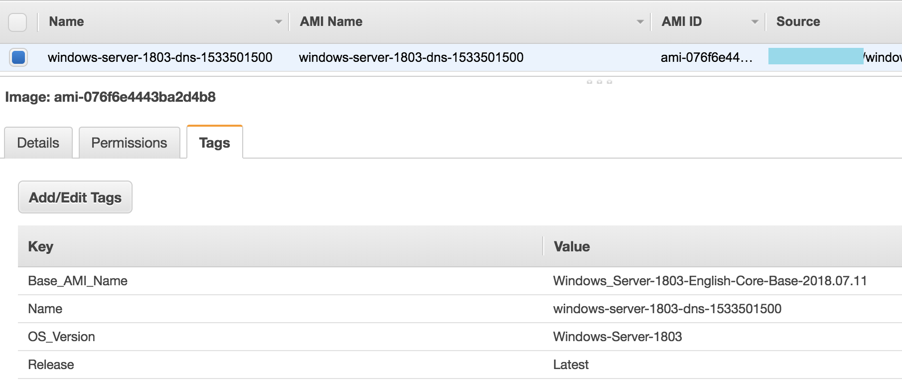 AWS console showing the created AMI