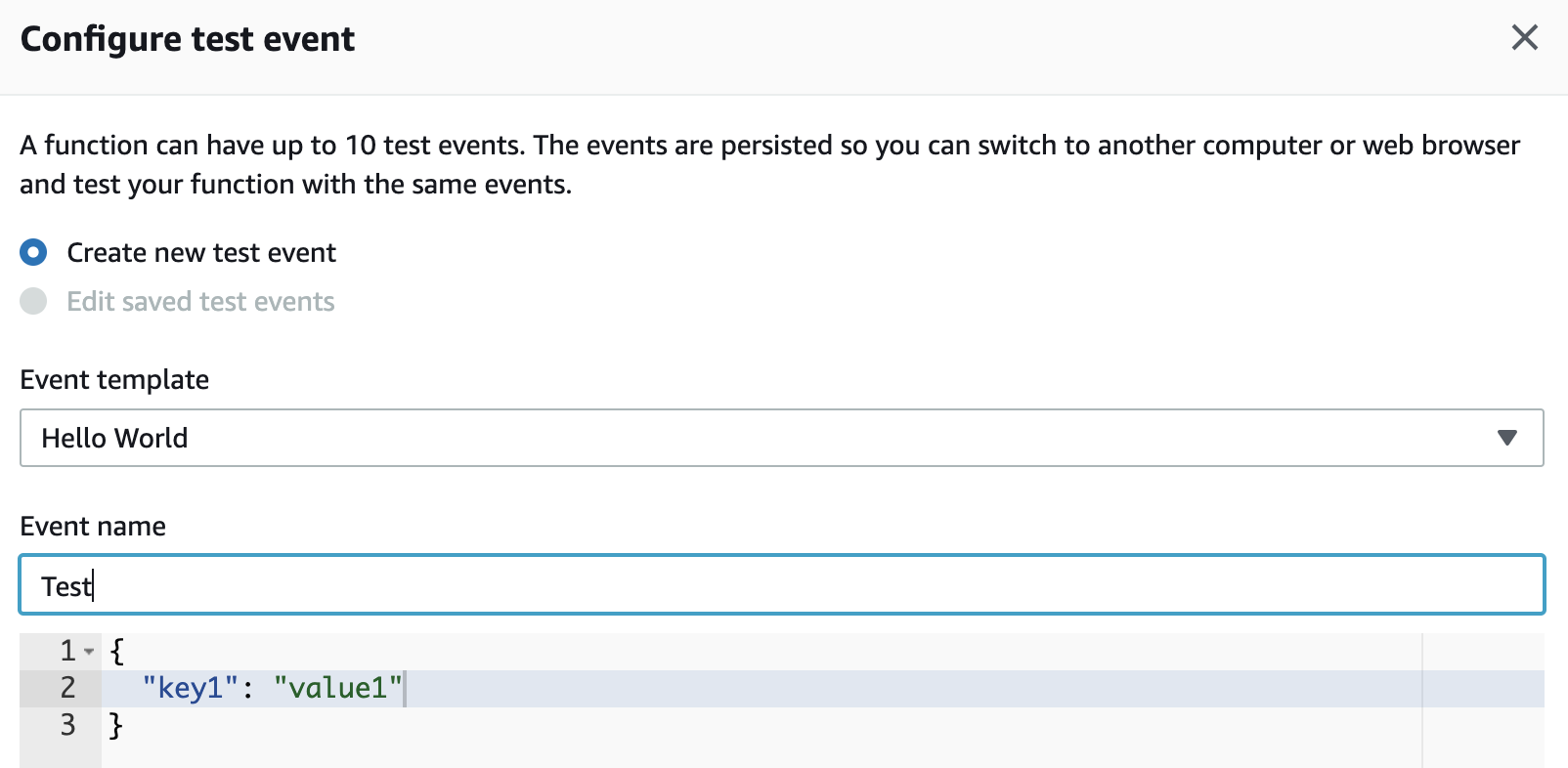 Configure the event