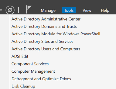 open active directory admin centre from server manager