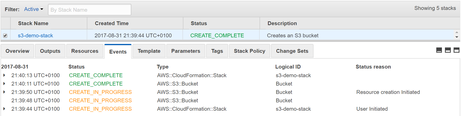 console output of deployed CloudFormation stack