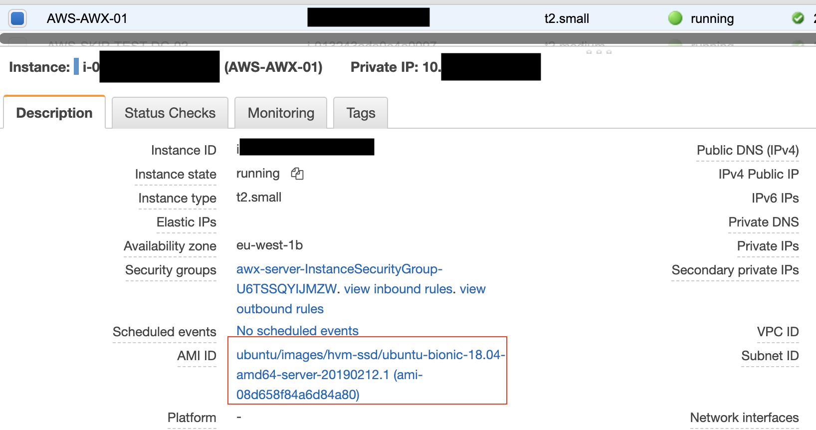 AWS console showing ami name