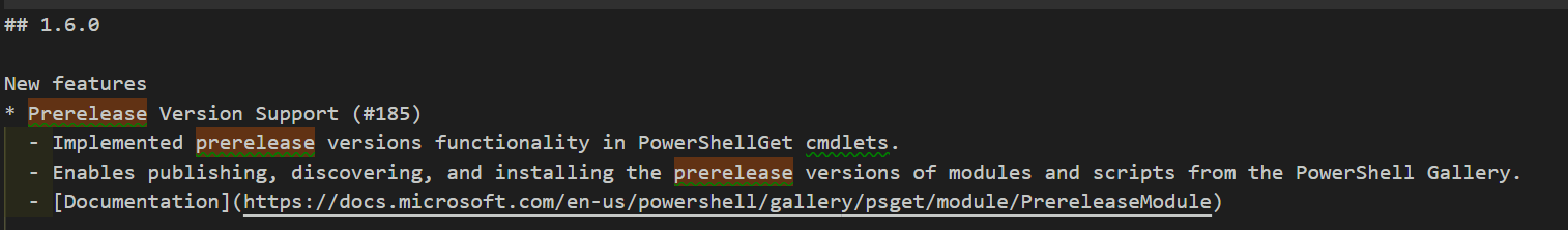 Release notes shown in vscode