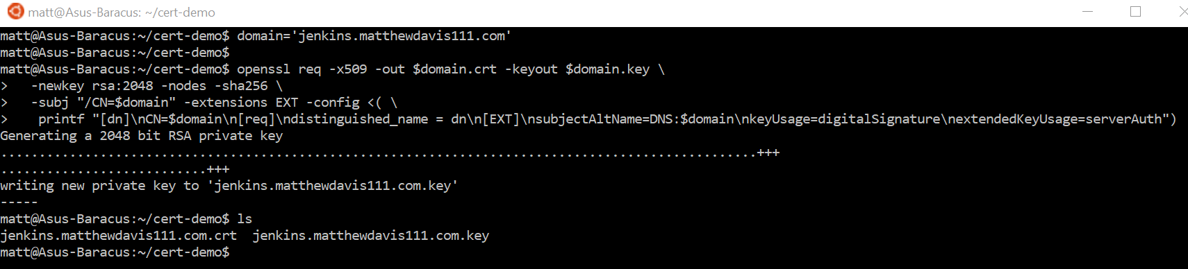 Creating the certificate and private key using Windows Subsystem for Linux