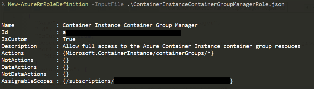 Creating the Azure role in the terminal