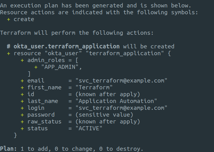 Terraform plan output
