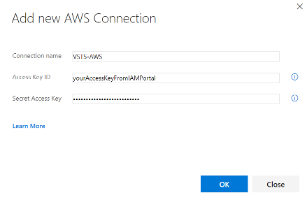 AWS connection settings