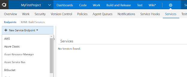 New service endpoint drop down list, aws, azure classic